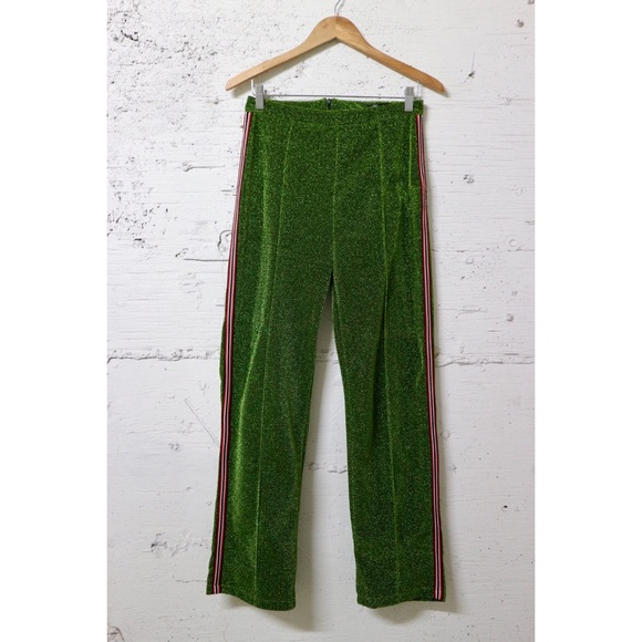 b866deeff0 Missy Empire Pants | Green Sparkle Red Stripe Wide Leg Track | Poshmark